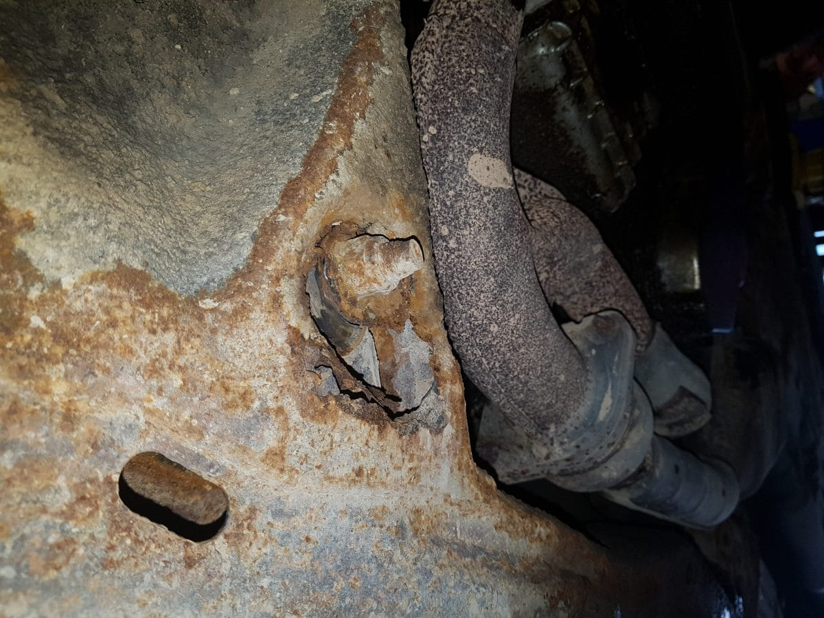 Subframe torn out around control arm bolt